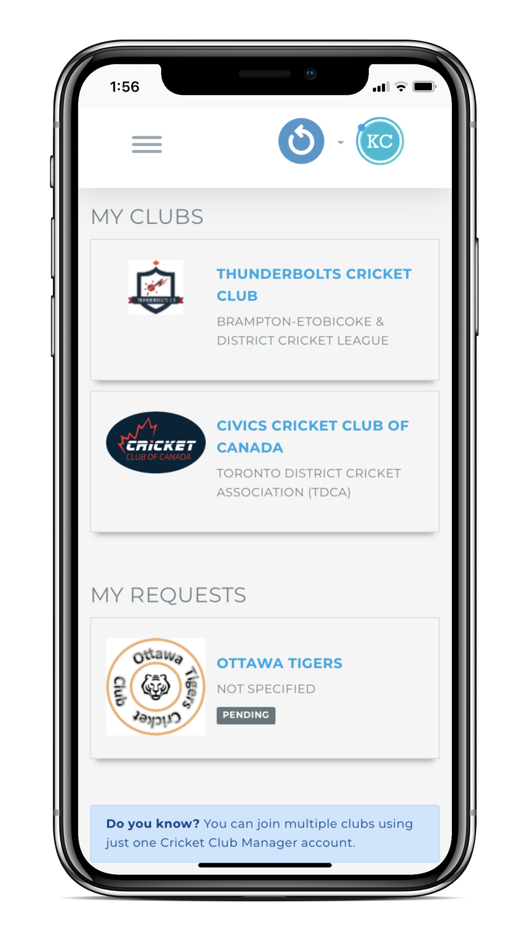 Cricket Club Manager - My Clubs